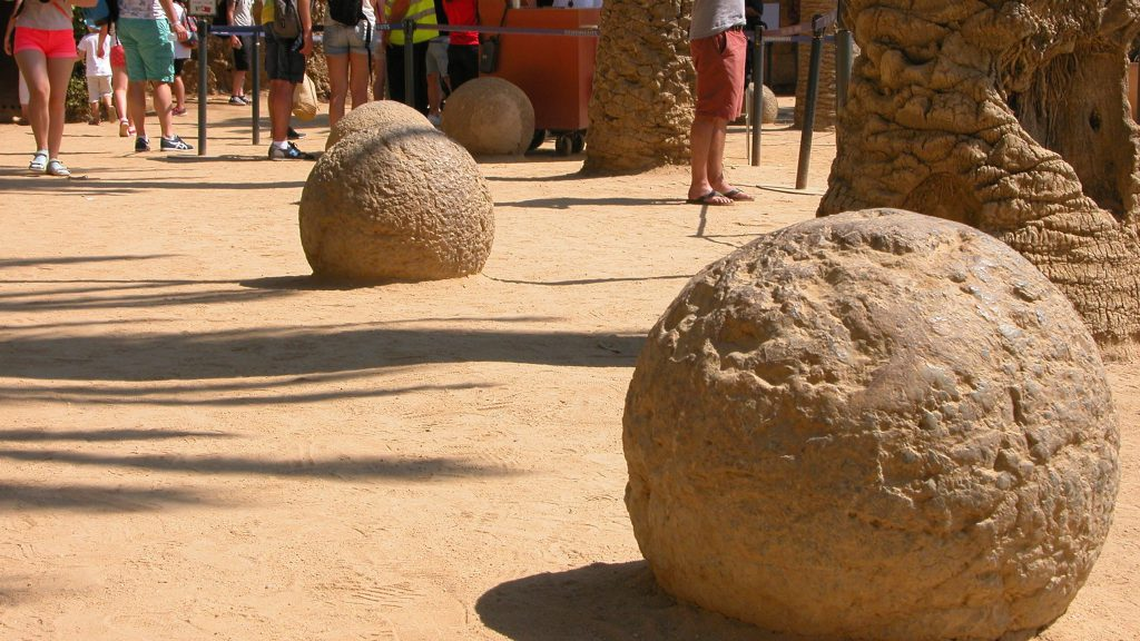 Pathway lined with stone spheres