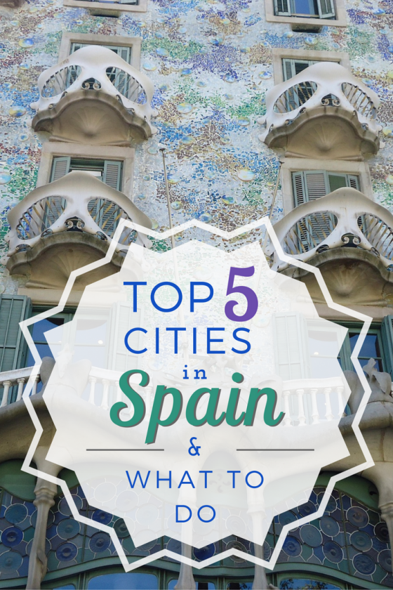 Best 5 cities to visit in Spain and a list of things to do in Spain. Includes tips on transportation, food, and free activities. Cities include Madrid, Barcelona, Toledo, Avila, and Segovia. Pin for later!