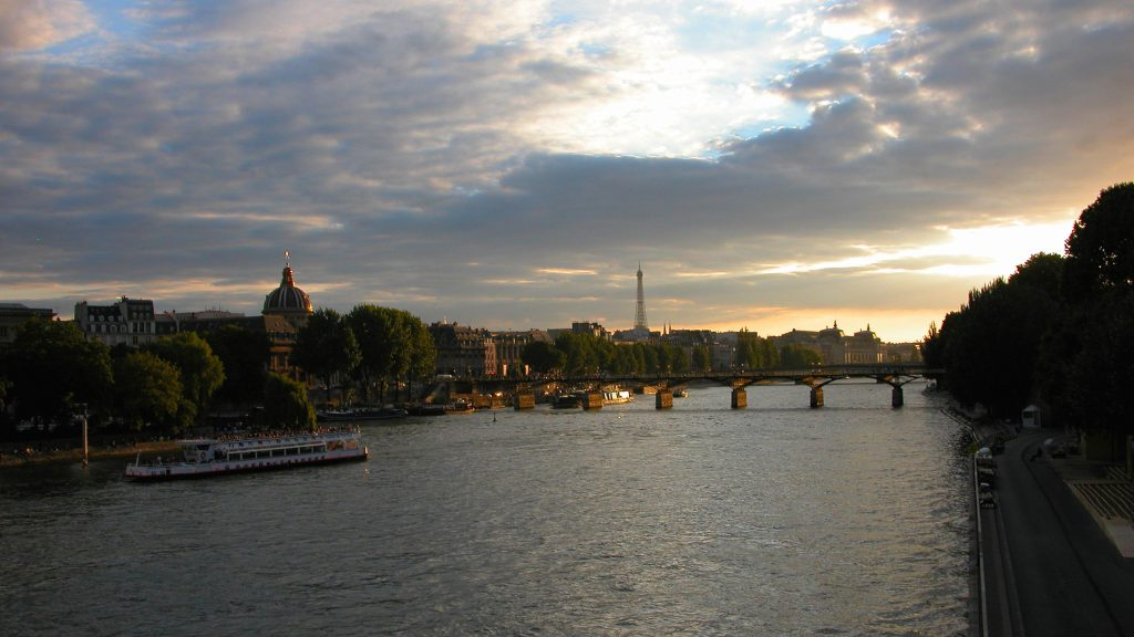 Sun setting over the Seine River