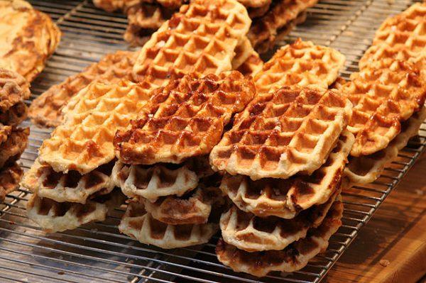 Belgian waffles - https://en.wikipedia.org/wiki/Waffle#/media/File:Gaufre_liege.jpg