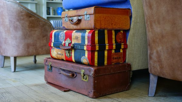 Suitcase luggage around the block