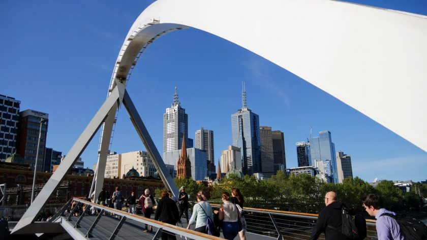 Southgate pedestrian bridge in Melbourne