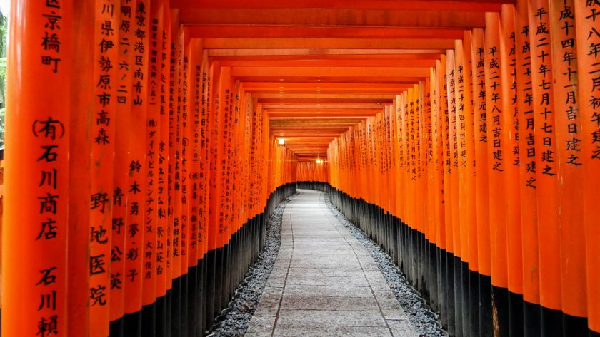 Torii gates Fushimi Inari Shrine Kyoto Japan